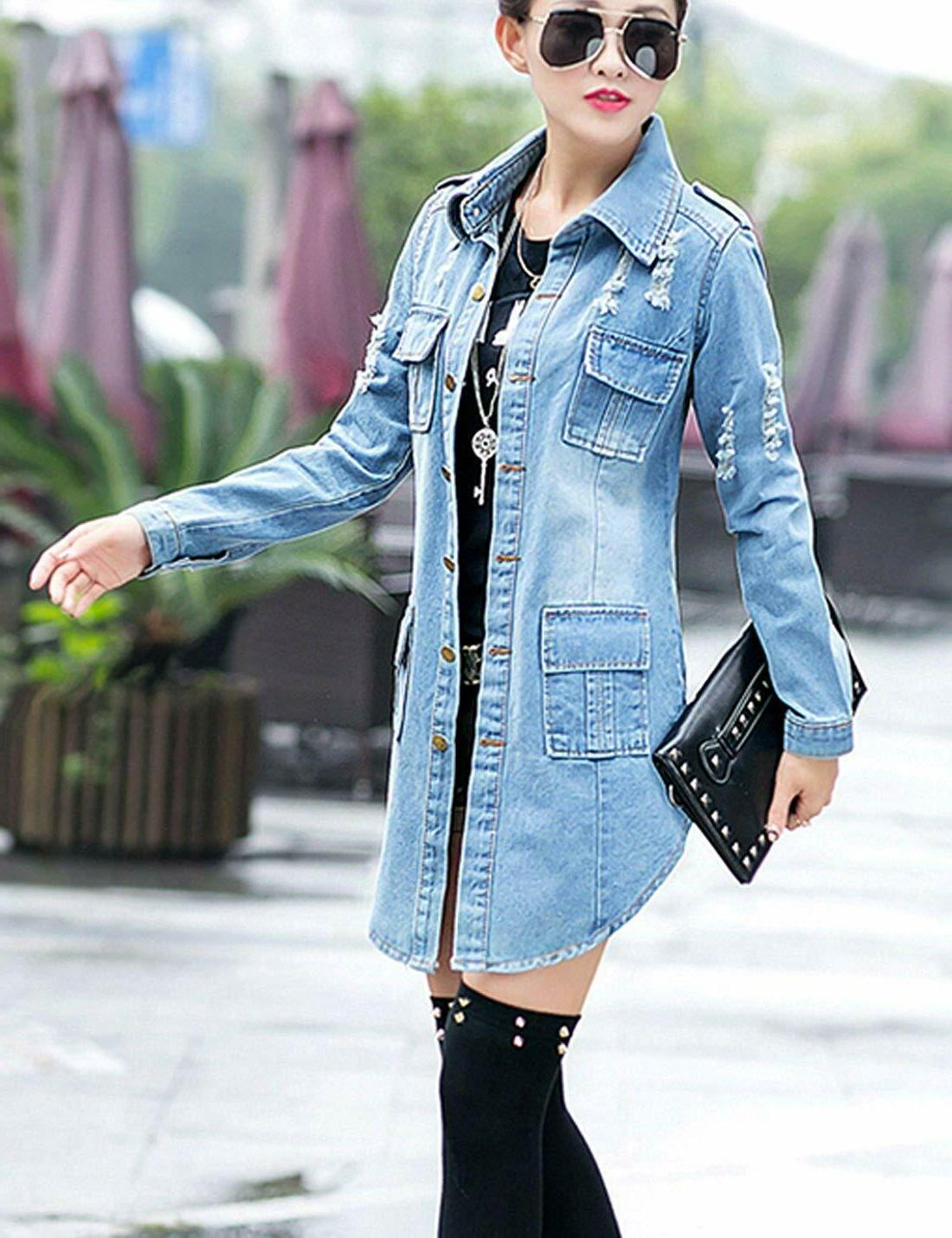 Slim Sleeve Denim Outercoat Windbreaker