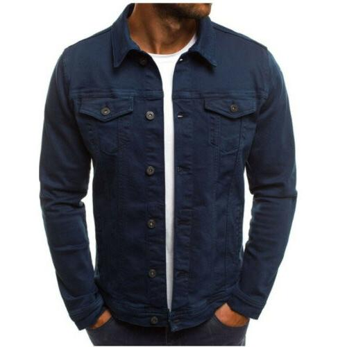US Men's Denim Jacket Long Slim Fit Outwear Tops