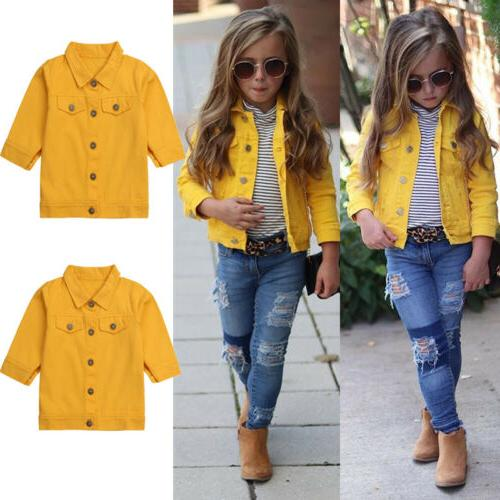 US Girls Boys Button Coat Clothes