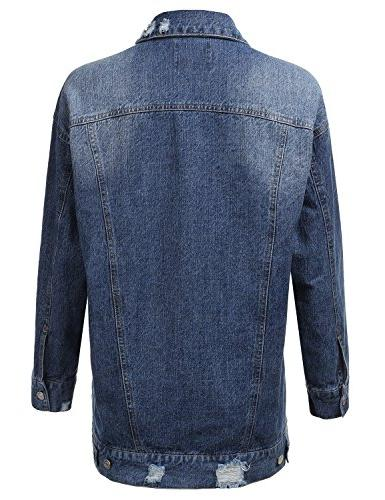 Doublju Button Down Denim For With Size Blue Large