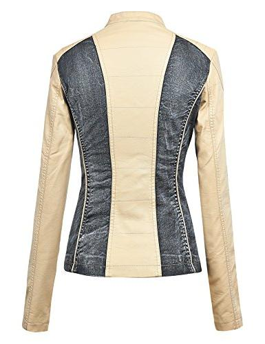 Made By Womens Faux Leather Denim Jacket Cream_Black