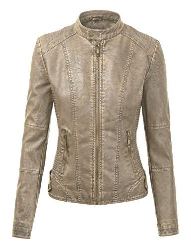 Made Womens Faux Motorcycle Jacket with L Khaki