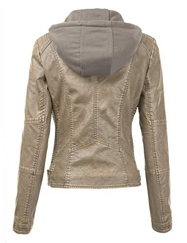 Made Womens Faux Leather Quilted Motorcycle L Khaki