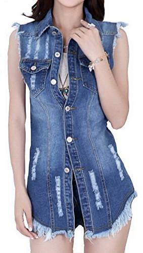 women distressed denim buttoned washed lapel jacket