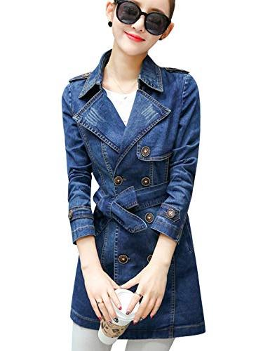 women s belted double breasted long denim