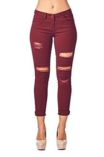 women s casual ripped holes skinny jeans