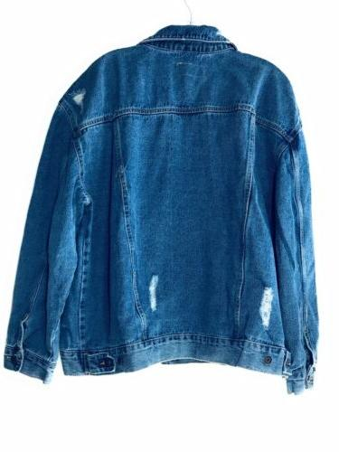 Women's Ripped Light-Wash OverSize Time and