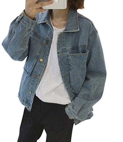 women s denim jacket vintage boyfriend loose