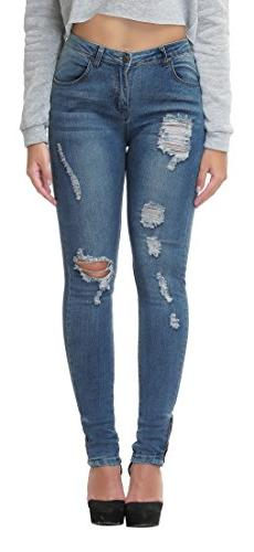 Women's Distressed Ripped Stretch High Waist Skinny Jeans De