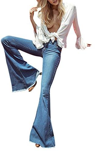 Women's Juniors High Fitted Flared Denim Jeans Blue