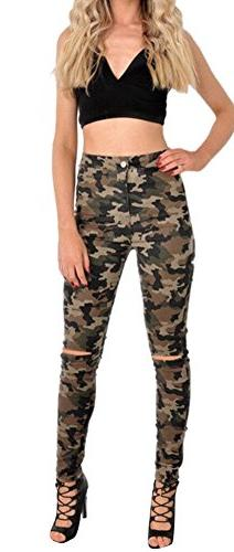 Women's Juniors High Waist Slim Stretchy Ripped Distressed S