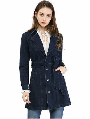 women s notched lapel belted trench long