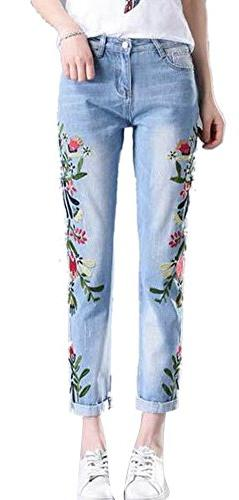 Women's Pencil Stretch Embroidered Floral High Waist Slim Bo