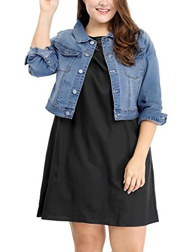 women s plus size button closed cropped