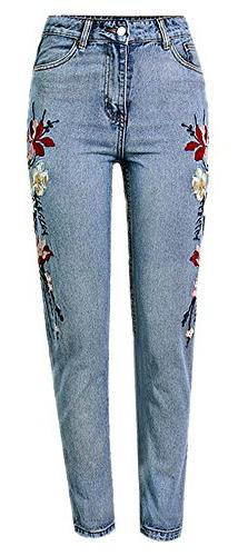 Women's Retro Embroidery Floral High Waisted Straight-Leg De