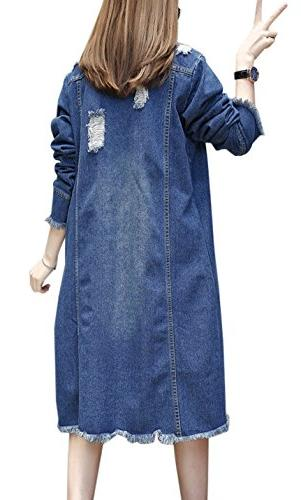 Gihuo Women's Lapel Button Front Long Jacket Trench Size