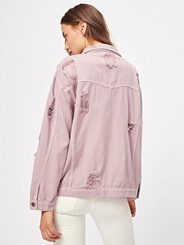 Floerns Ripped Distressed Casual Long Sleeve Jacket M