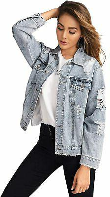 Floerns Women's Ripped Distressed Casual Long Sleeve Denim J