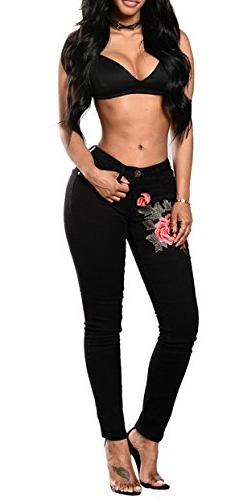 Women's Rose Embroidered Butt Lift Super Comfy Stretch Denim