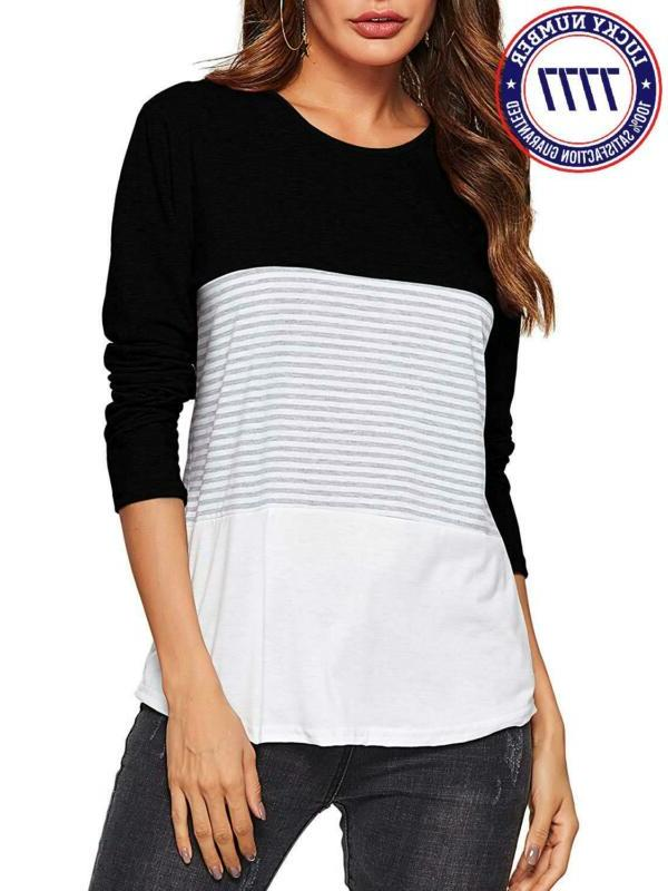 Amoretu Women'S Round Striped Casual Blouses Tops