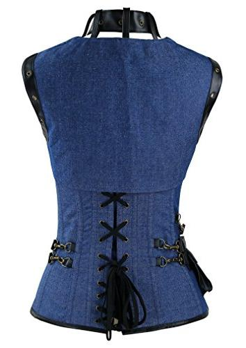 Charmian Spiral Boned Denim Corset with Jacket and
