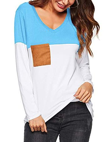 womens casual v neck long sleeve t