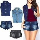 WOMENS LADIES DENIM CROPPED TOP JACKET /SHORTS JEANS VINTAGE