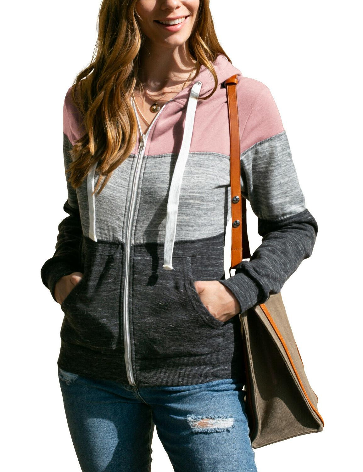 Womens Lightweight Zip-Up Hoodie with Size