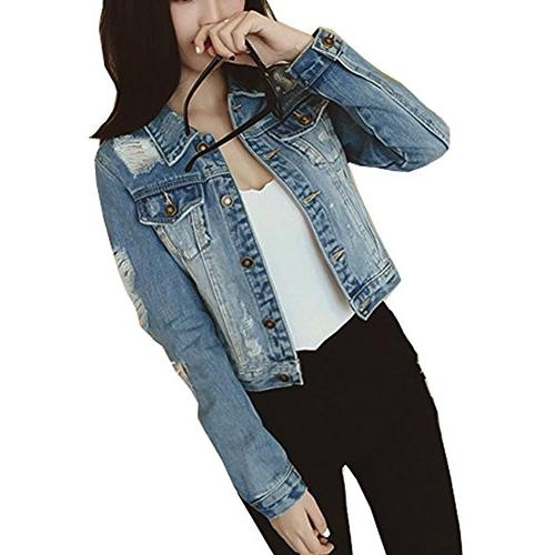 womens ripped jean jacket juniors button vintage