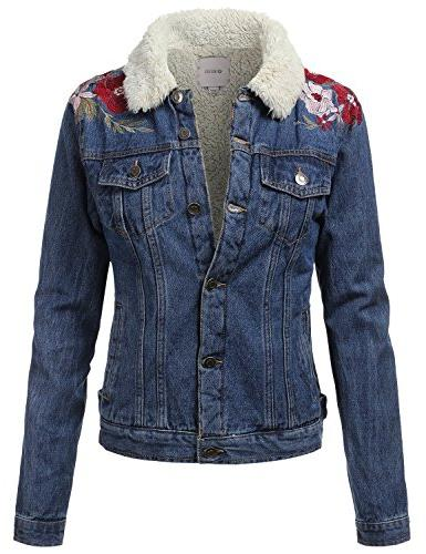 womens vintage faux fur lined embroidered button