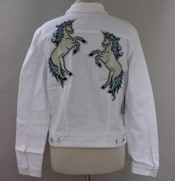 Large LuLaRoe Harvey Denim Jacket White Dueling Unicorns Pat