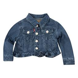 Levi's Baby Girls Ruffle Denim Trucker Jacket, Melange b, 12