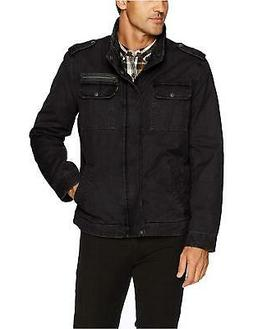 Levi's Men's Washed Cotton Two Pocket Military Jacket, Black