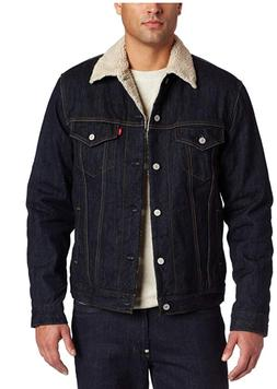 levis denim button up trucker jacket dark