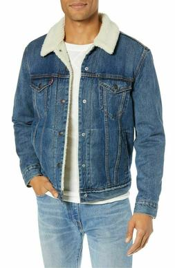 Levis Sherpa Jacket Mens Sherpa Lined Denim Jacket Blue 0040