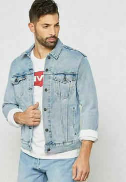 Levis Mens Classic Denim Trucker Jacket Button Up Bleach Lig
