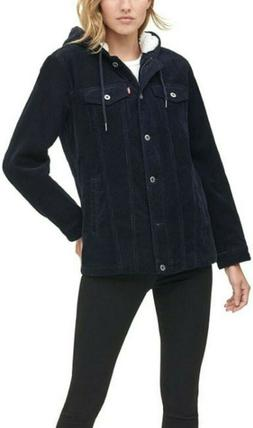 Levi's Women's The Mia Corduroy Hooded Sherpa Trucker Jack