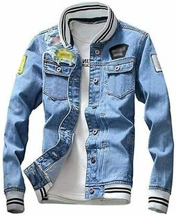 LifeHe Men Denim Jacket With Patches Light Blue