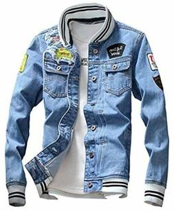 Lifehe Light Blue Denim Jacket With Patches Ribknit collar &