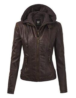 Lock and Love LL WJC1044 Womens Faux Leather Quilted Motorcy