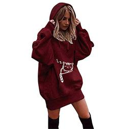 BEAUTYVAN Long Tops Dress,Hoody Sweatshirts for Women Plus S