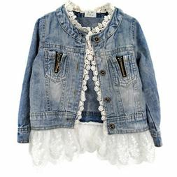Lovely Girl Kids Denim Jacket Ruffle Lace Jean Coat Top Cowb