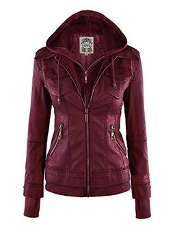 Made By Johnny MBJ WJC664 Womens Faux Leather Jacket with Ho