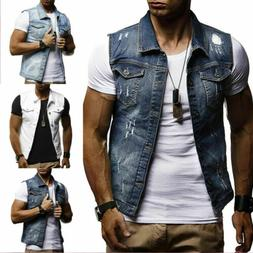 Men Denim Causal Jacket Vest Jean Coat Cool Collared Sleevel