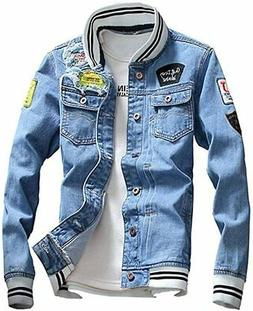 LifeHe Men Denim Jacket with Patches Light Blue 3XL
