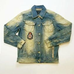 Men akoo DENIM  JEAN jacket SIZE LARGE 100% AUTHENTIC nice R