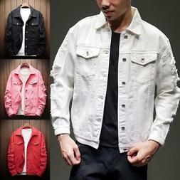 Men Distressed Ripped Denim Jacket Blazer Casual Retro Truck