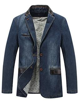 Gihuo Men's Casual Classic Fit Lapel Denim Jacket Single-Bre