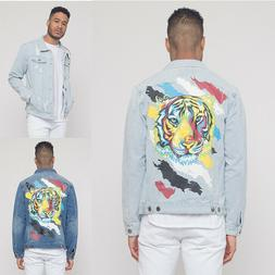 Men's Casual Ripped Distressed Colorful Painted Tiger Denim