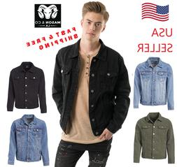 Men's Classic Premium Ripped Jean Jacket Bomber Denim Jacket